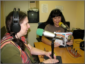 The mission of LARRS is to ensure that those who are print impaired have the same access to information as those who can read text. This is an image of jolie mason and jody kepple in the broadcast studio